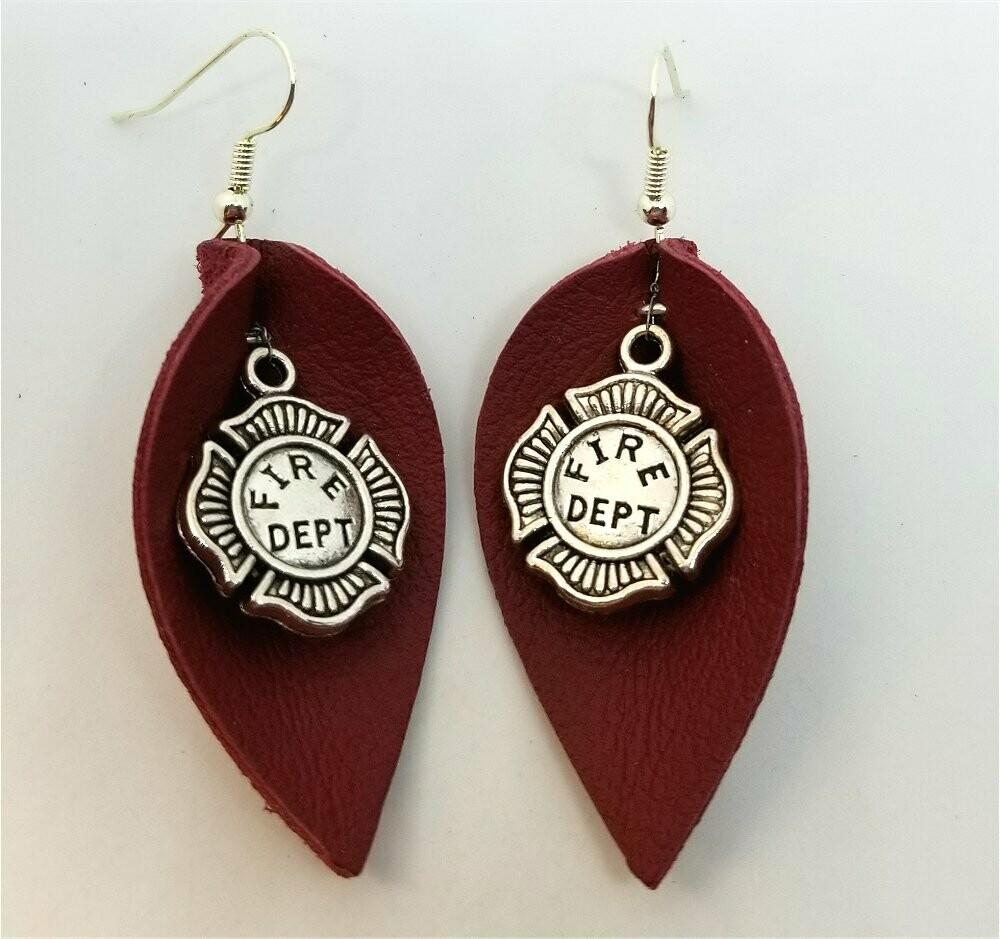 Burnt Red Leather Earrings with Fire Department Shield Charms