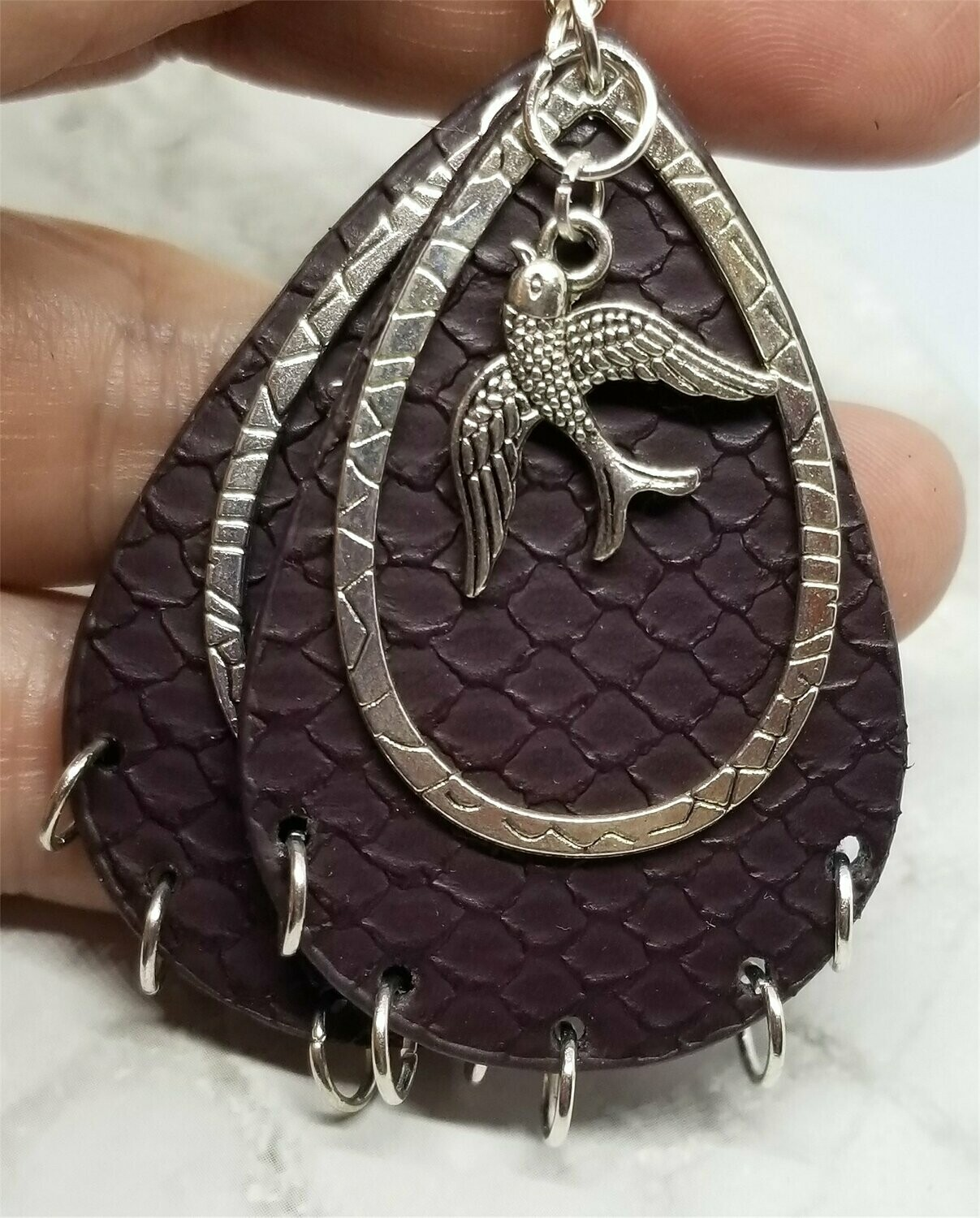 Chocolate Brown FAUX Leather Textured Earrings with Songbird Charm Overlays and Metal Hoop Fringe