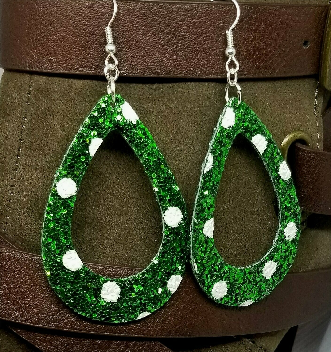 Chunky Green Glitter Very Sparkly Double Sided FAUX Leather Cut Out Teardrop Earrings with White Polka Dots