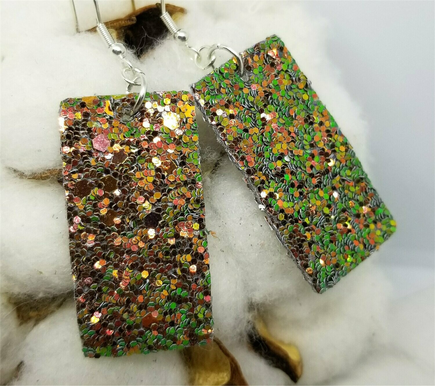Color Shifting Glitter Very Sparkly Double Sided FAUX Leather Rectangular Earrings