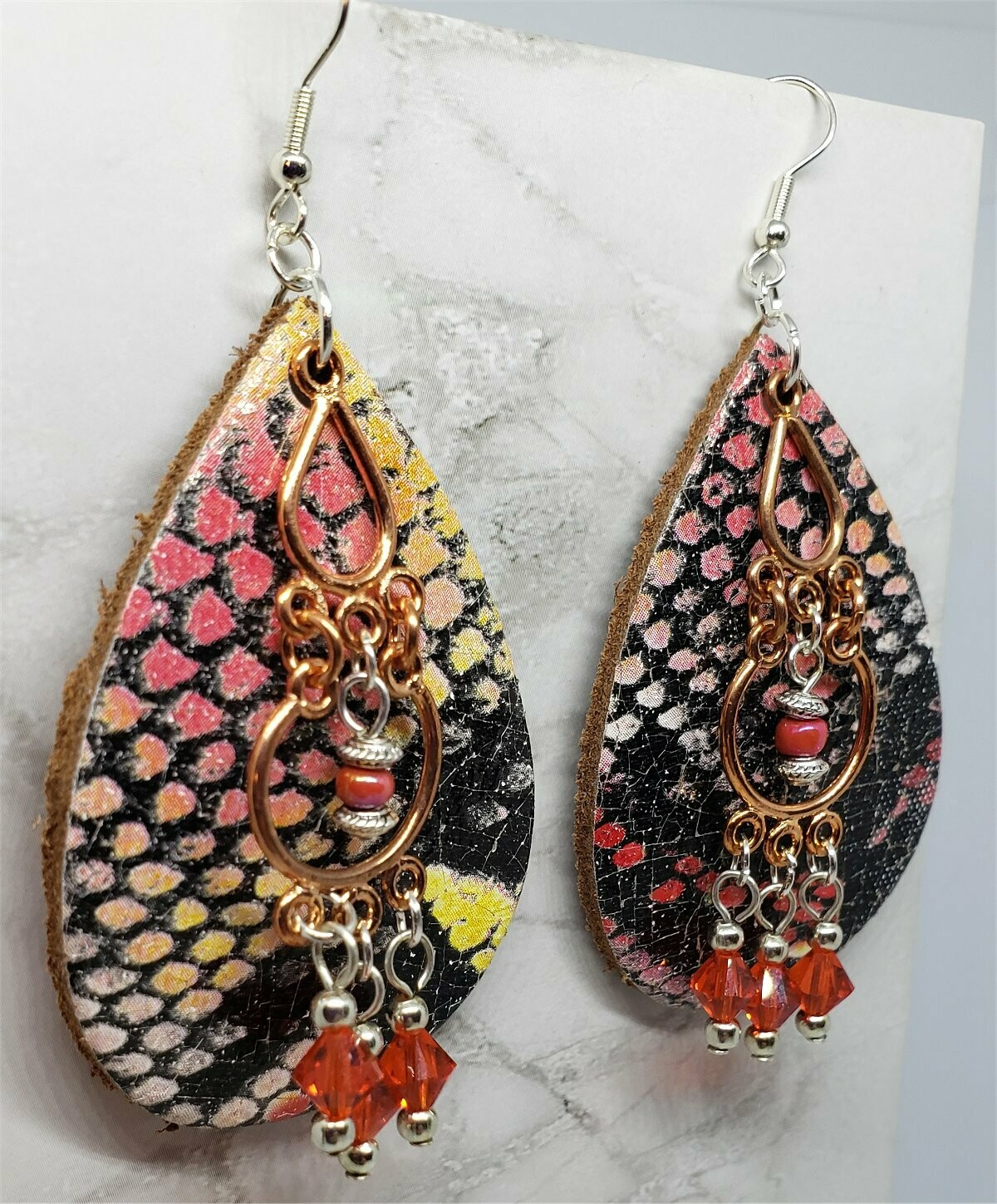 Colorful Snakeskin Real Leather Earrings with a Copper Chandelier Overlay and Swarovski Crystal Dangles