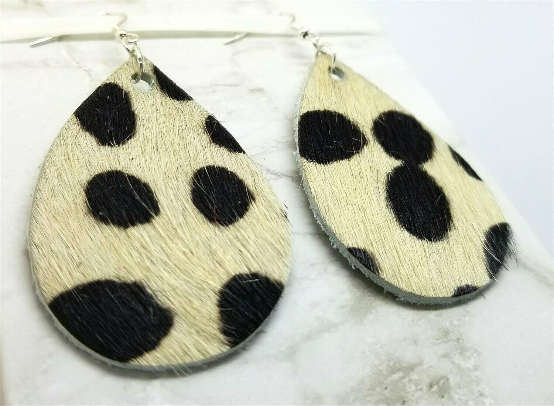 Cow Print Hair on Hide Real Leather Tear Drop Earrings