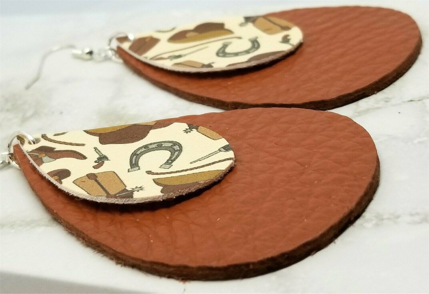 Cowboy Themed Faux Leather on Top of Brown Real Leather Teardrop Earrings