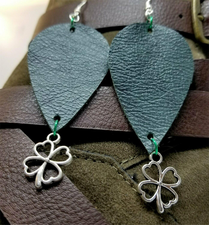 Dark Green Teardrop Shaped Leather Earrings with a Shamrock Charm Dangles