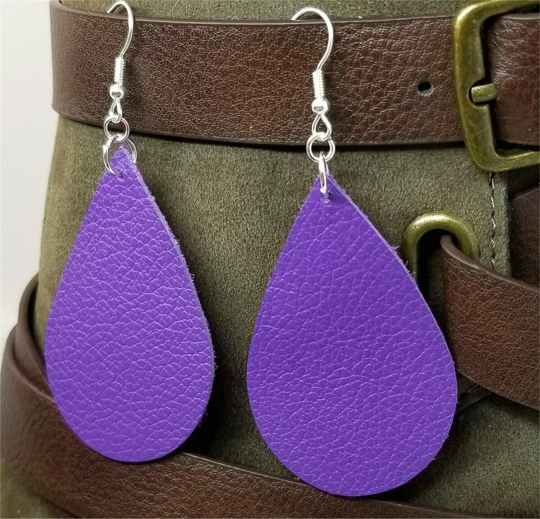 Dark Purple Tear Drop Shaped Real Leather Earrings