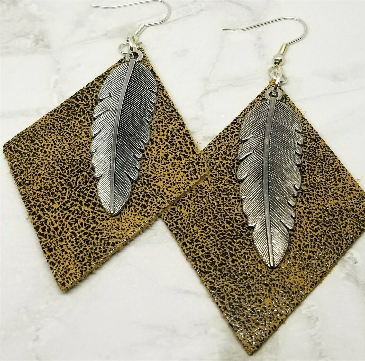 Diamond Shaped Leather Earrings with Silver Feather Charm Overlay