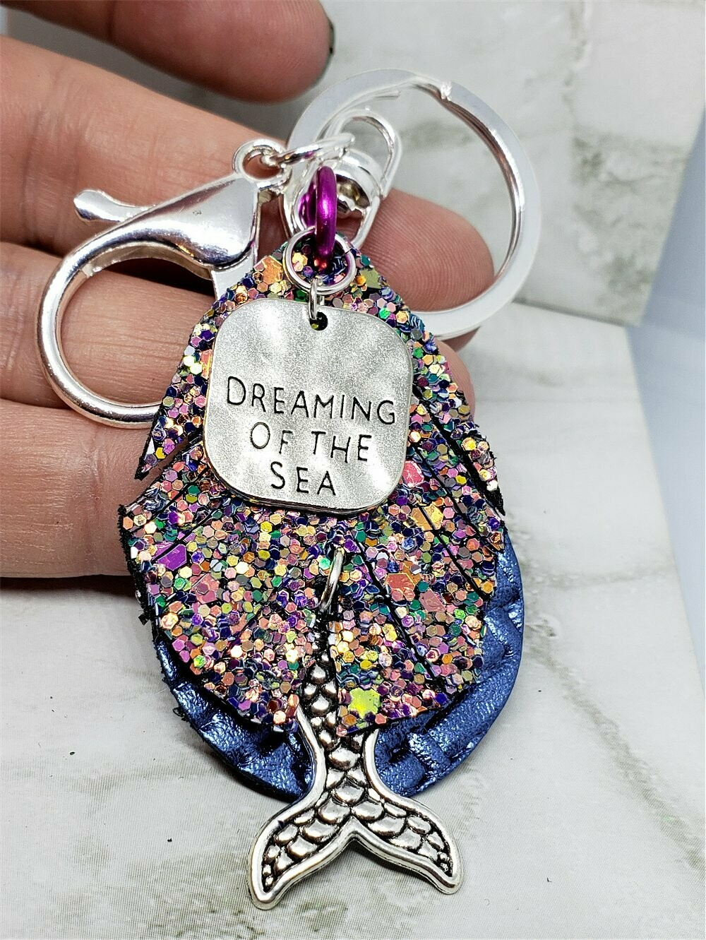 Dreaming of the Sea Mermaid Keychain with Leather, Faux Leather, and Silver Toned Metal Charms