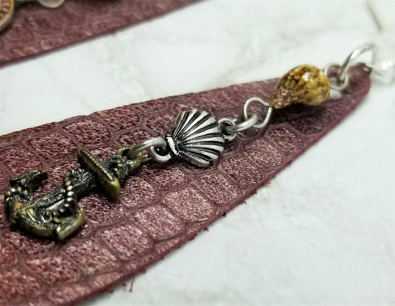 Elongated Teardrop Bronze Colored Nautical Themed Leather Earrings