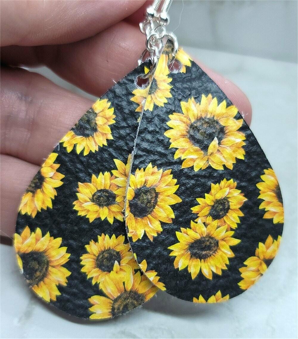 Sunflowers Printed on Black Real Leather Teardrop Earrings
