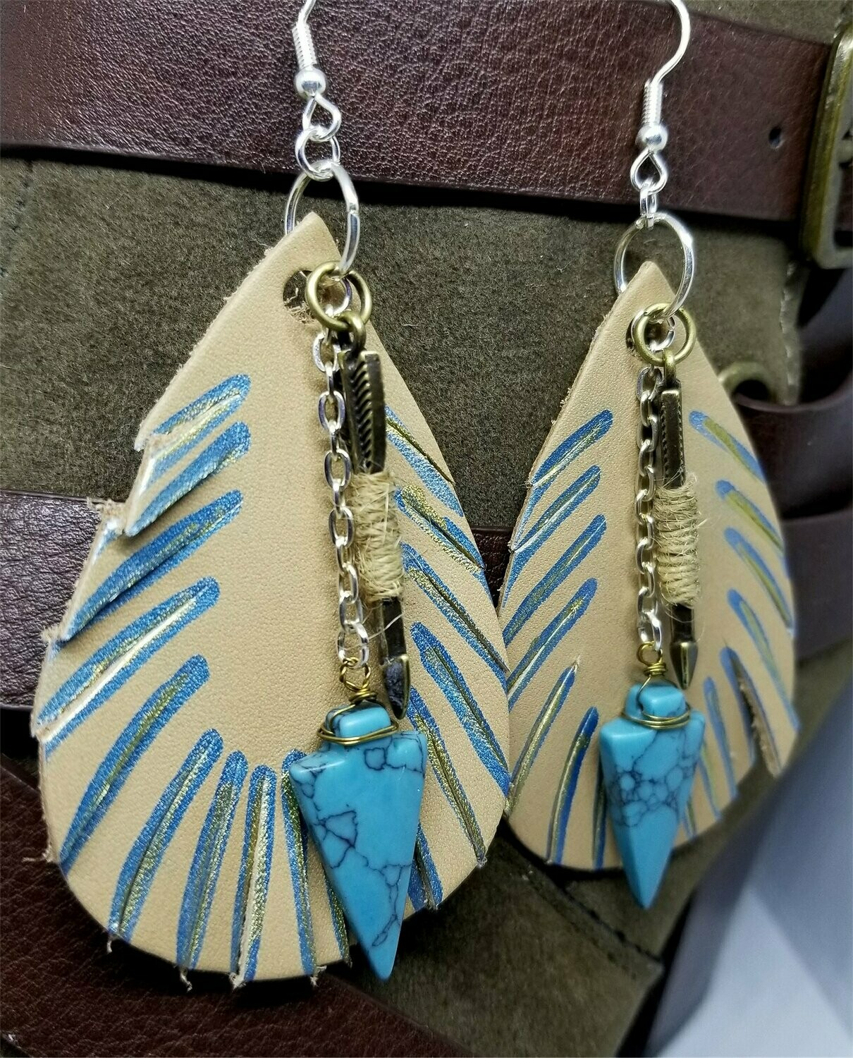 Feathered Real Leather Brown Tear Drop Earrings with Arrow and Arrowhead Drops