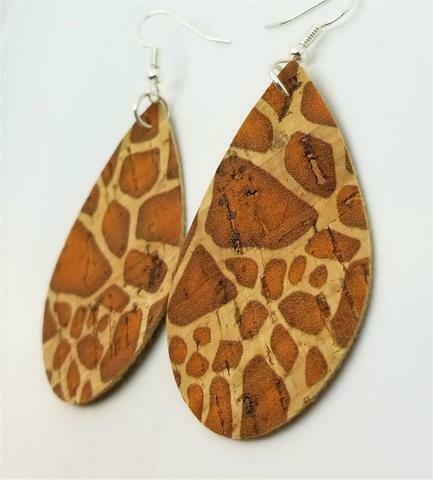 Giraffe Print Tear Drop Shaped Cork Earrings
