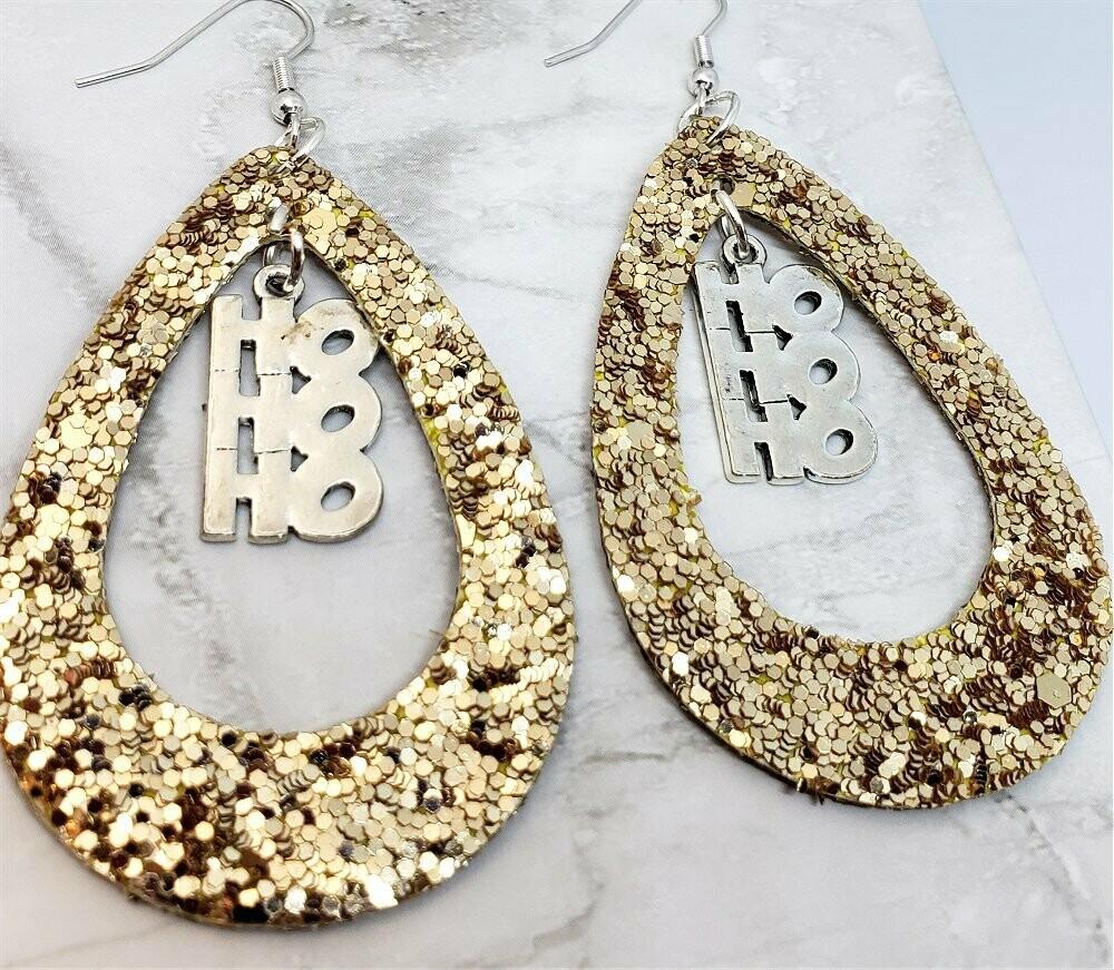 Gold Glitter FAUX Leather Cut Out Teardrop Earrings with HoHoHo Charm Dangles