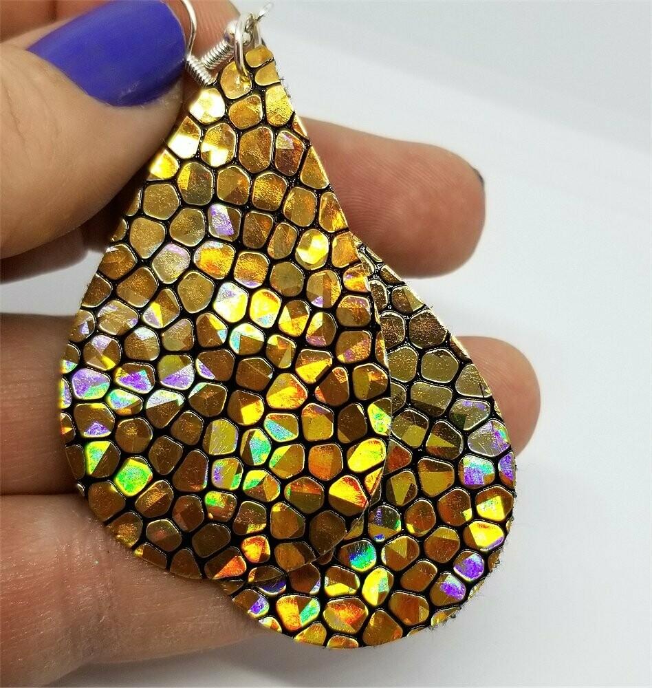 Gold Metallic Cobblestone Tear Drop Shaped FAUX Leather Earrings