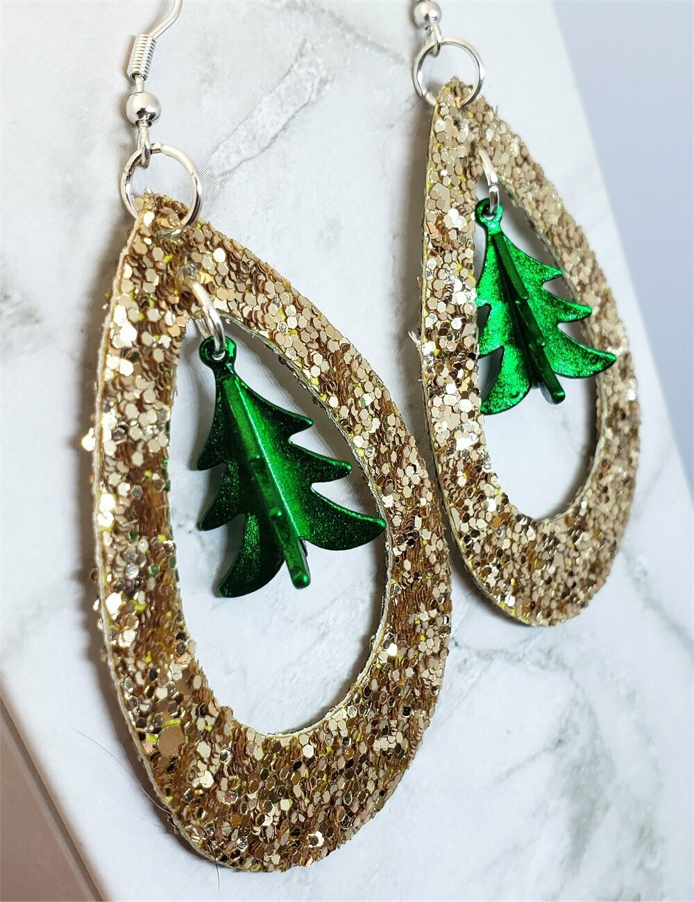 Gold Glitter FAUX Leather Cut Out Teardrop Earrings with Green Metal Christmas Tree Dangles