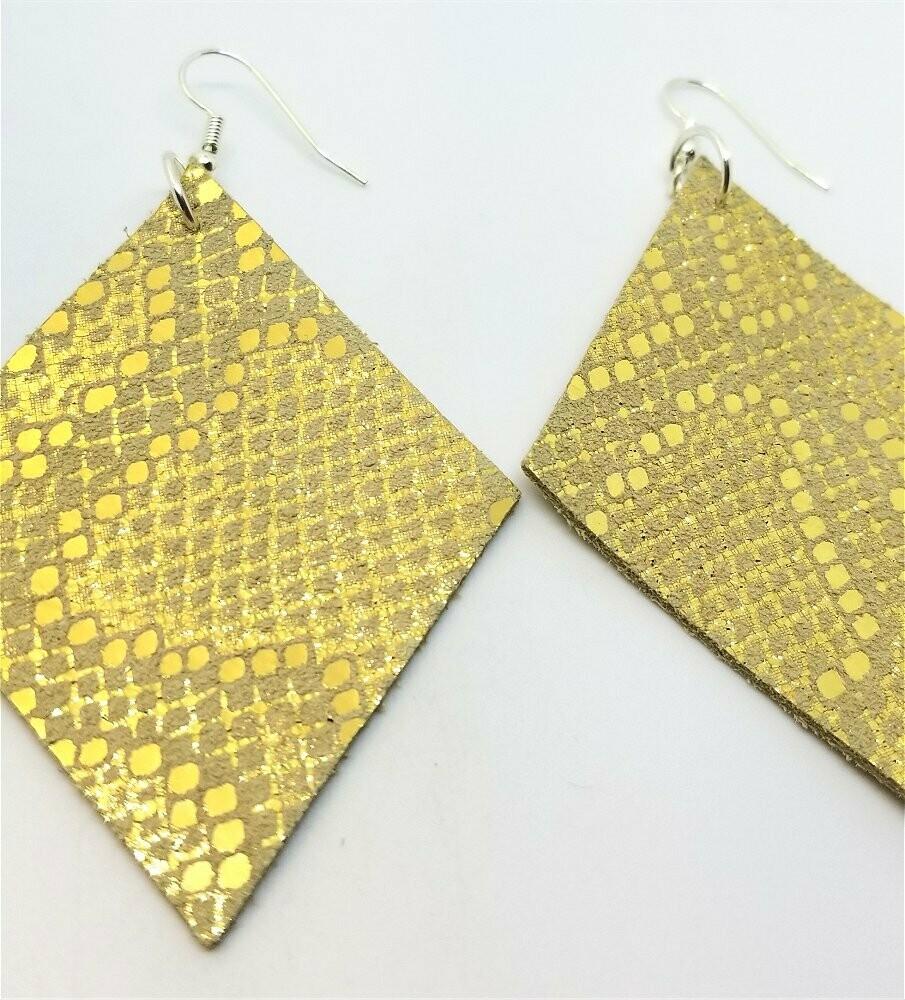 Gold Shiny Diamond Shaped Real Leather Earrings
