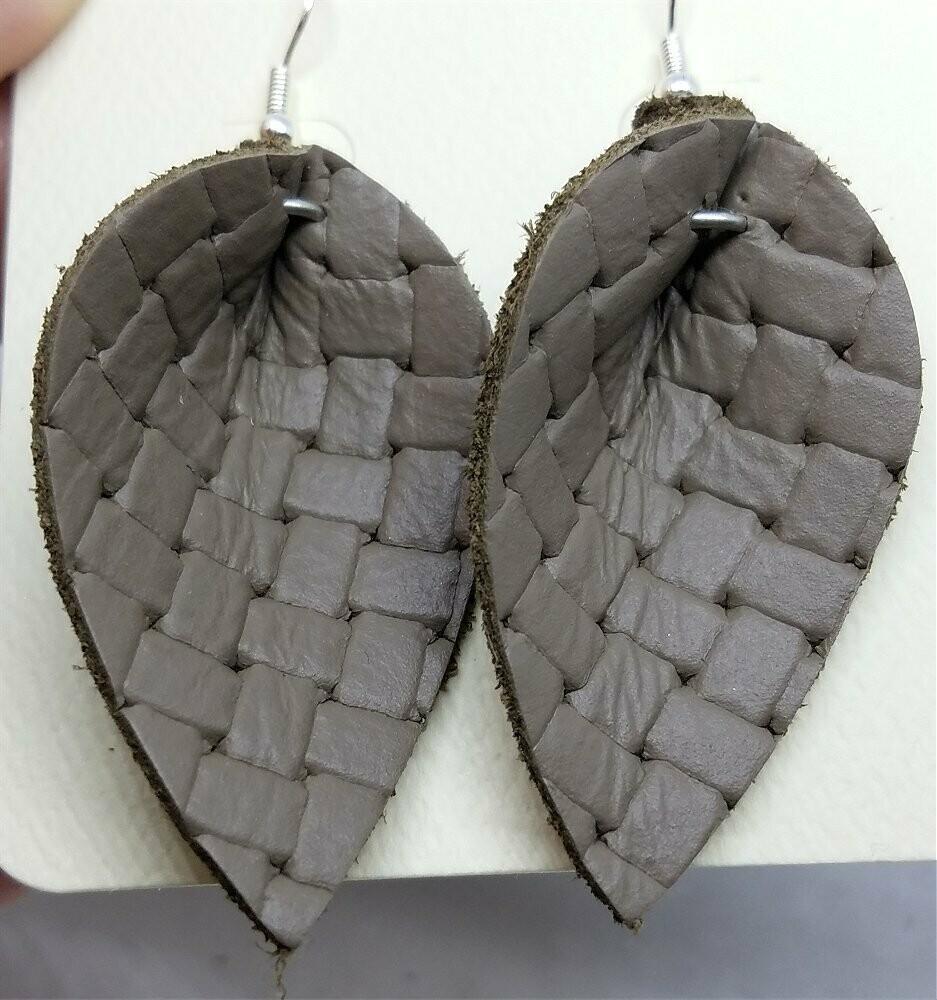 Gray Basket Weave Embossed Leather Leaf Earrings
