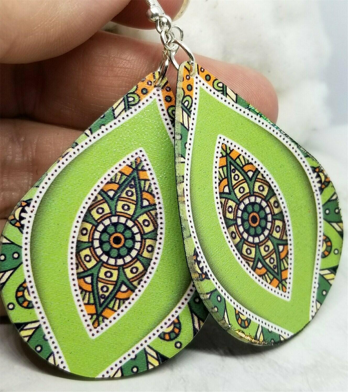 Green and Orange Mandala FAUX Leather Teardrop Earrings