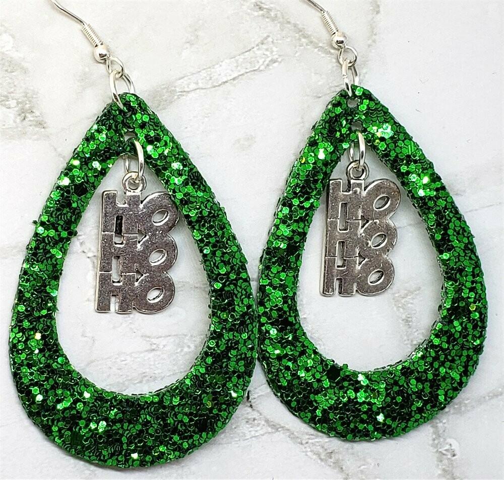 Green Glitter FAUX Leather Cut Out Teardrop Earrings with HoHoHo Charm Dangles