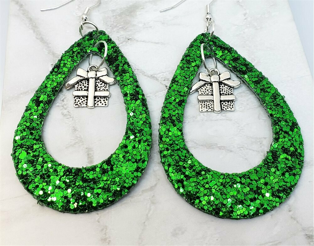 Green Glitter FAUX Leather Cut Out Teardrop Earrings with Gift Charm Dangles