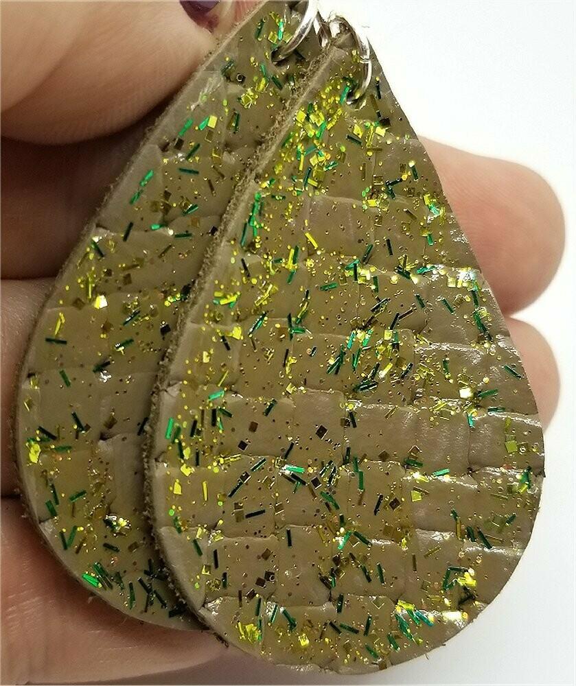 Green Glitter on Brown Teardrop Shaped Leather Earrings