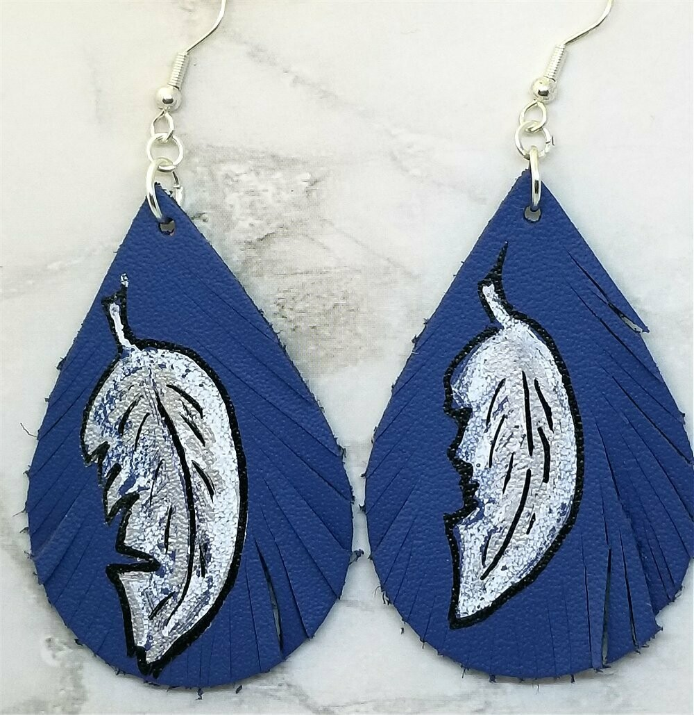 Hand Painted Feather on Fringed Real Leather Blue Teardrop Shaped Earrings