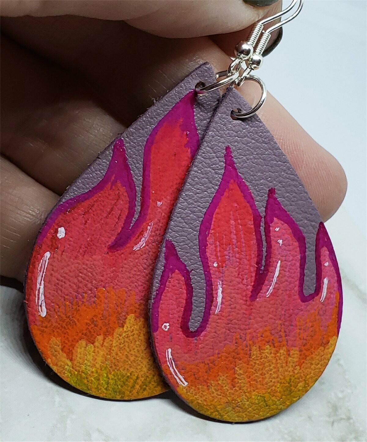 Hand Painted Flames on Mauve Real Leather Teardrop Shaped Earrings