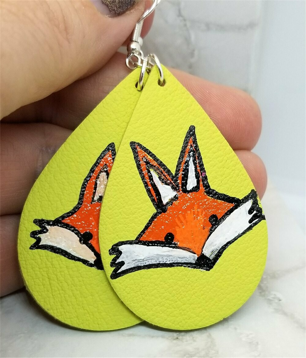 Hand Painted Fox on Pastel Green Real Leather Teardrop Shaped Earrings