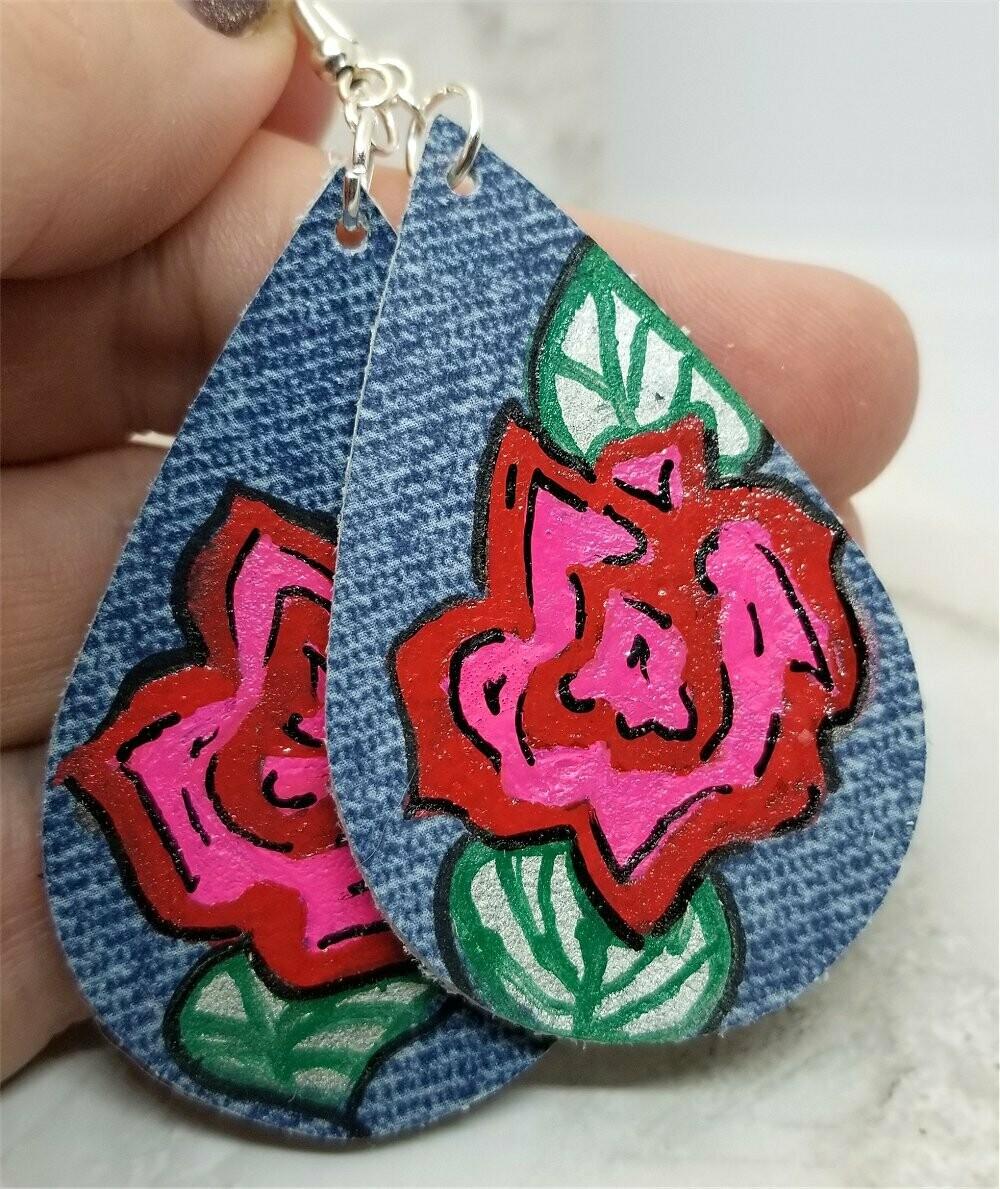 Hand Painted Rose on Denim Real Leather Teardrop Earrings