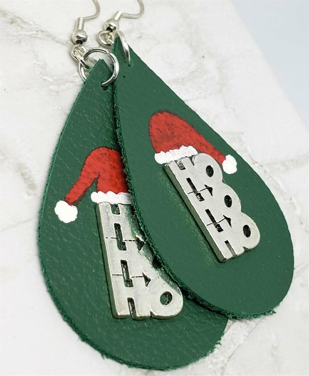 Hand Painted Santa Hat with Metal HoHoHo Embellishment on Green Real Leather Teardrop Shaped Earrings