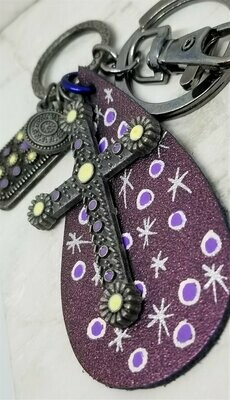 Hand Painted Real Leather with an Antiqued Brass Keychain and Dangles