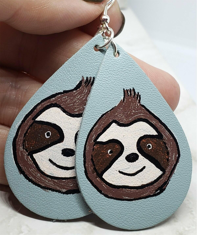 Hand Painted Sloth Real Leather Teardrop Earrings