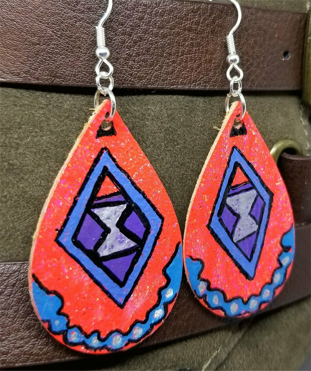 Hand Painted Southwestern or Aztec Design on Real Leather Teardrop Earrings