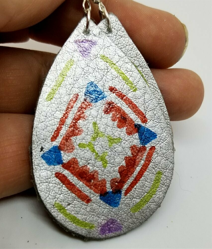 Hand Painted Southwestern Design on Silver Metallic Real Leather Teardrop Earrings