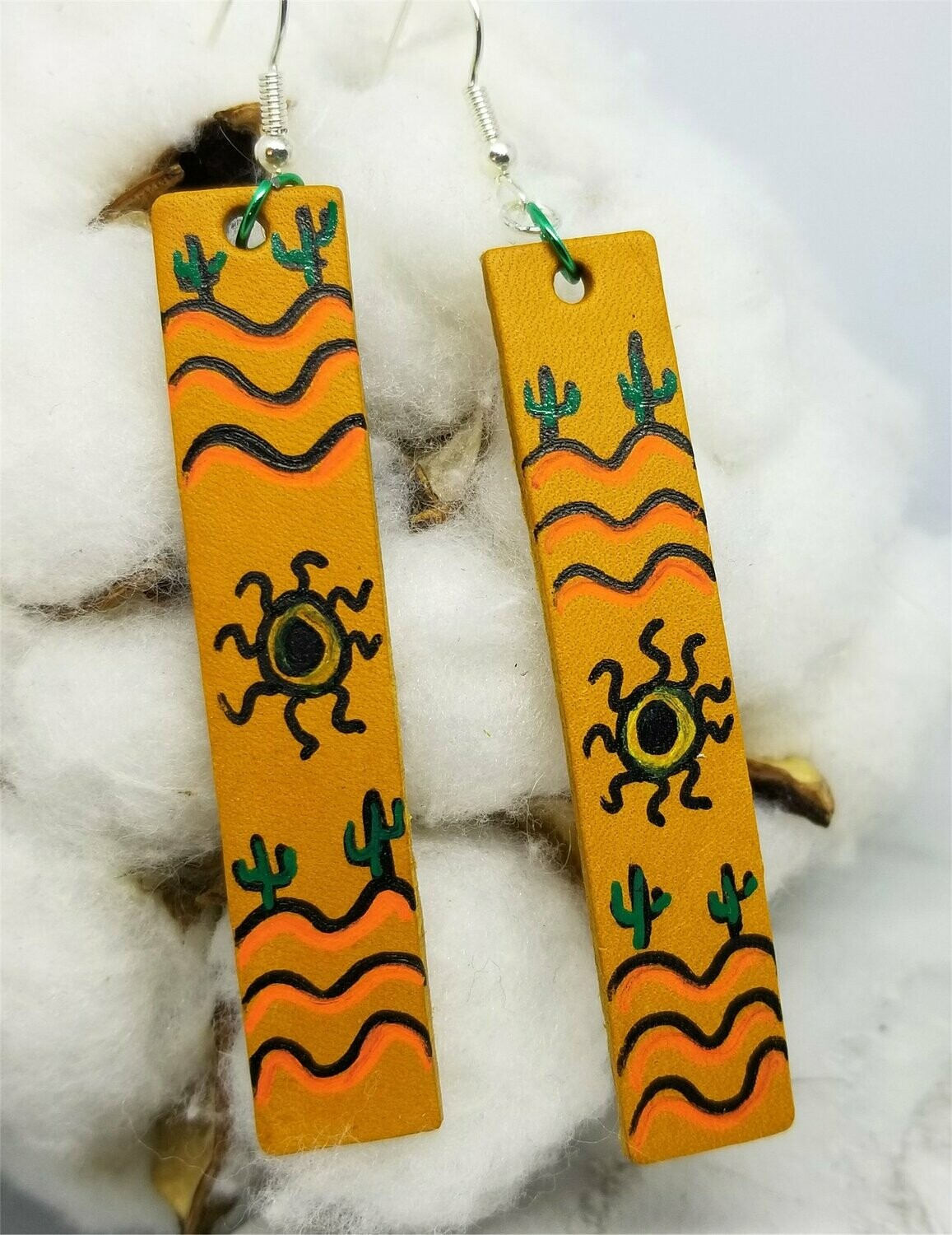 Hand Painted Southwestern Theme on Brown Real Leather Strip Earrings