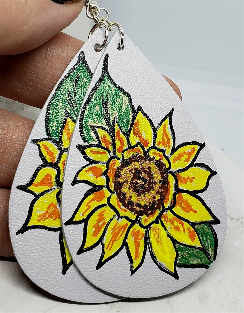 Hand Painted Sunflower on Gray Real Leather Teardrop Earrings
