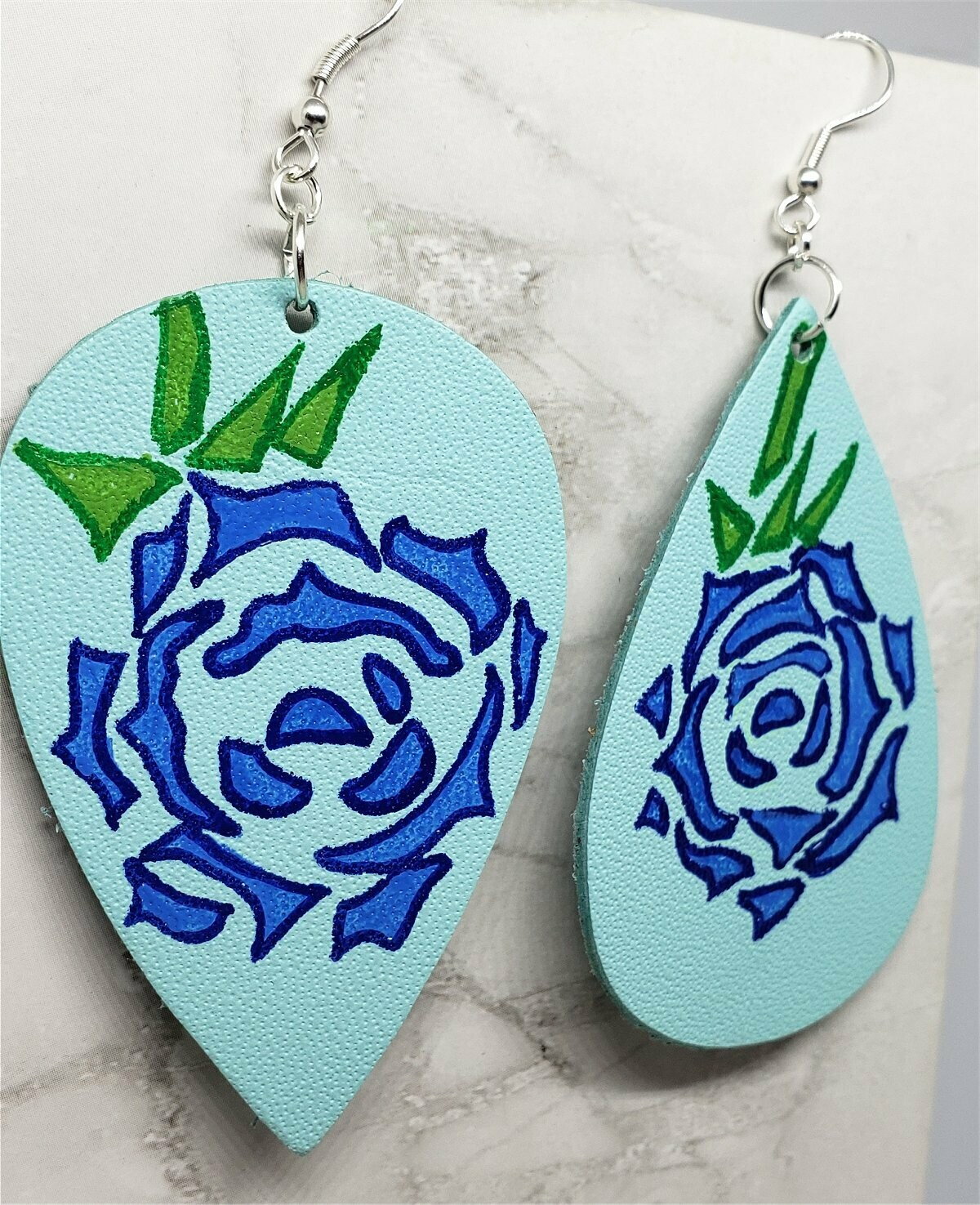 Hand Painted Tattoo Rose Real Leather Topsy Turvy Teardrop Shaped Earrings
