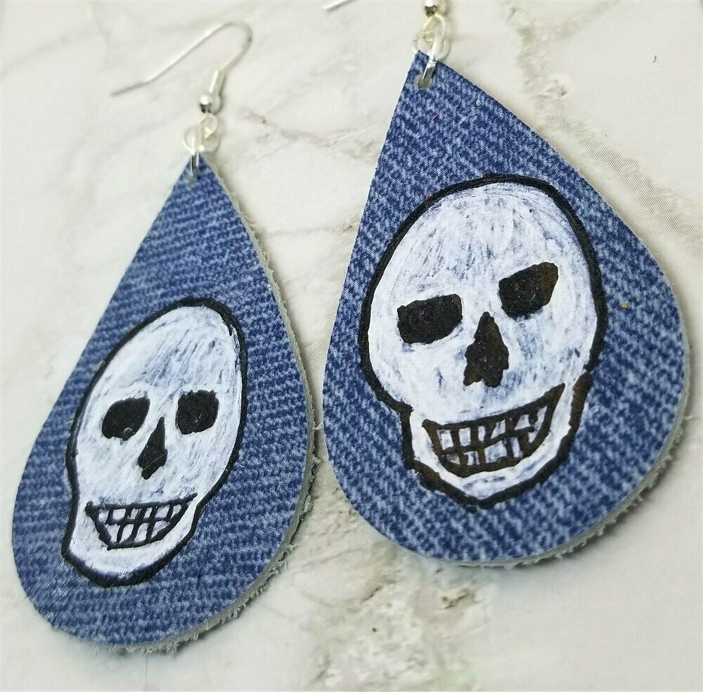 Hand Painted Phantom Skull on Denim Real Leather Teardrop Earrings