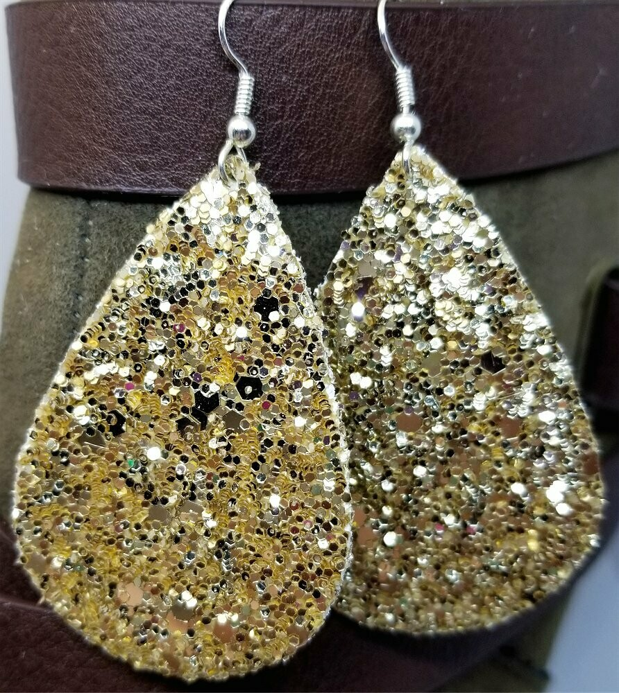Chunky Gold Glitter Very Sparkly Double Sided FAUX Leather Teardrop Earrings