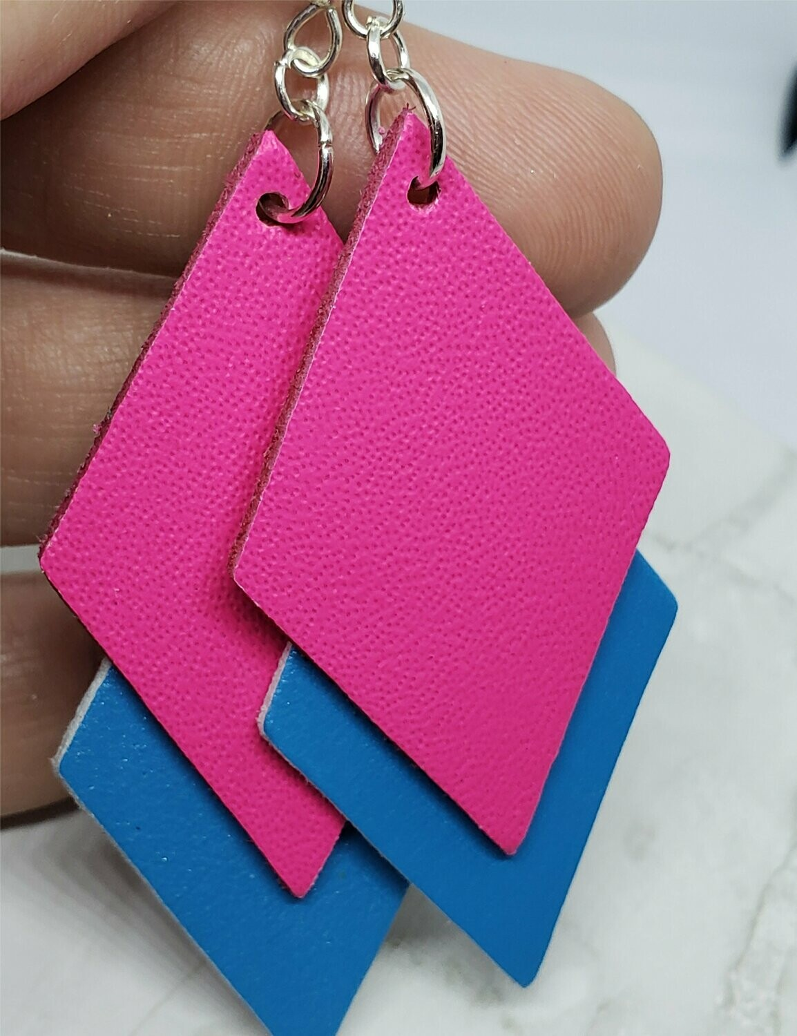 Hot Pink and Electric Blue Layered Diamond REAL Leather Earrings