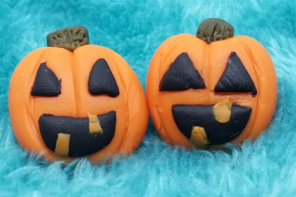 Pumpkin Jack o' Lantern Polymer Clay Post Earrings