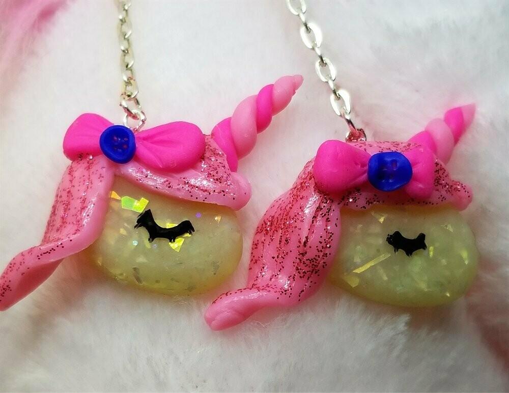 Dangling Unicorn Polymer Clay Earrings