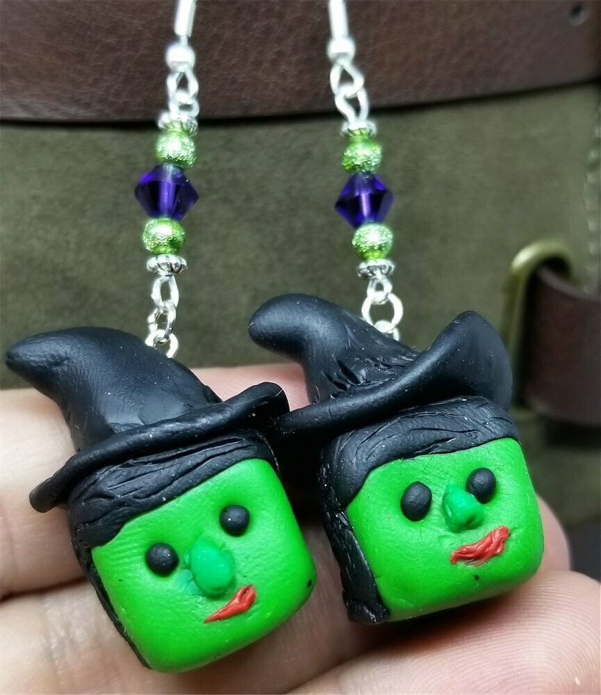 Green Witch Polymer Clay Earrings with Purple Swarovski Crystals
