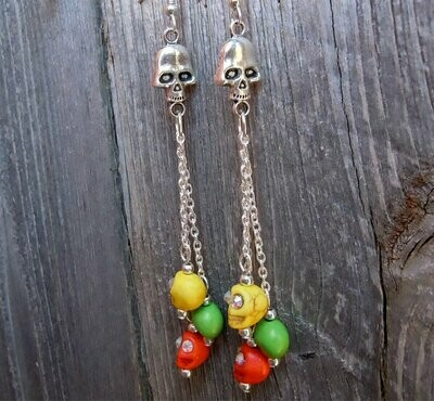 Cascading Colorful Magnesite Skulls with Rhinestone Eyes Hanging Earrings