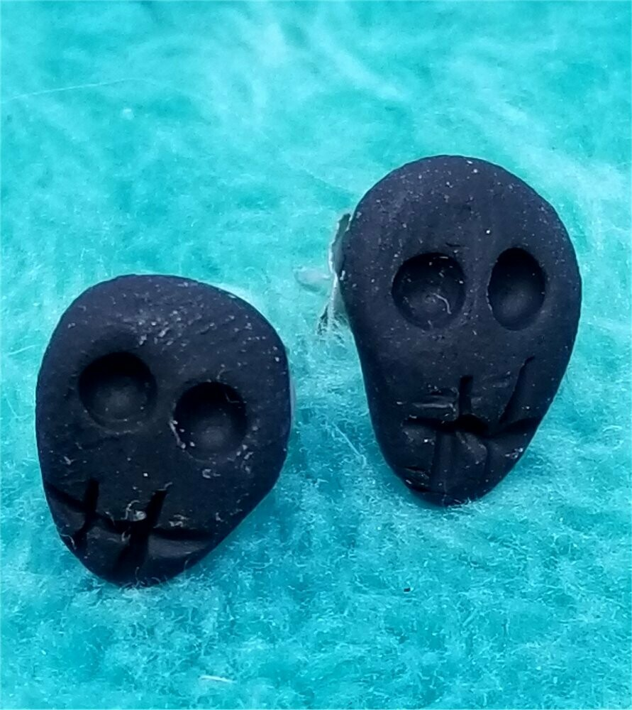 Black Skull Polymer Clay Post Earrings