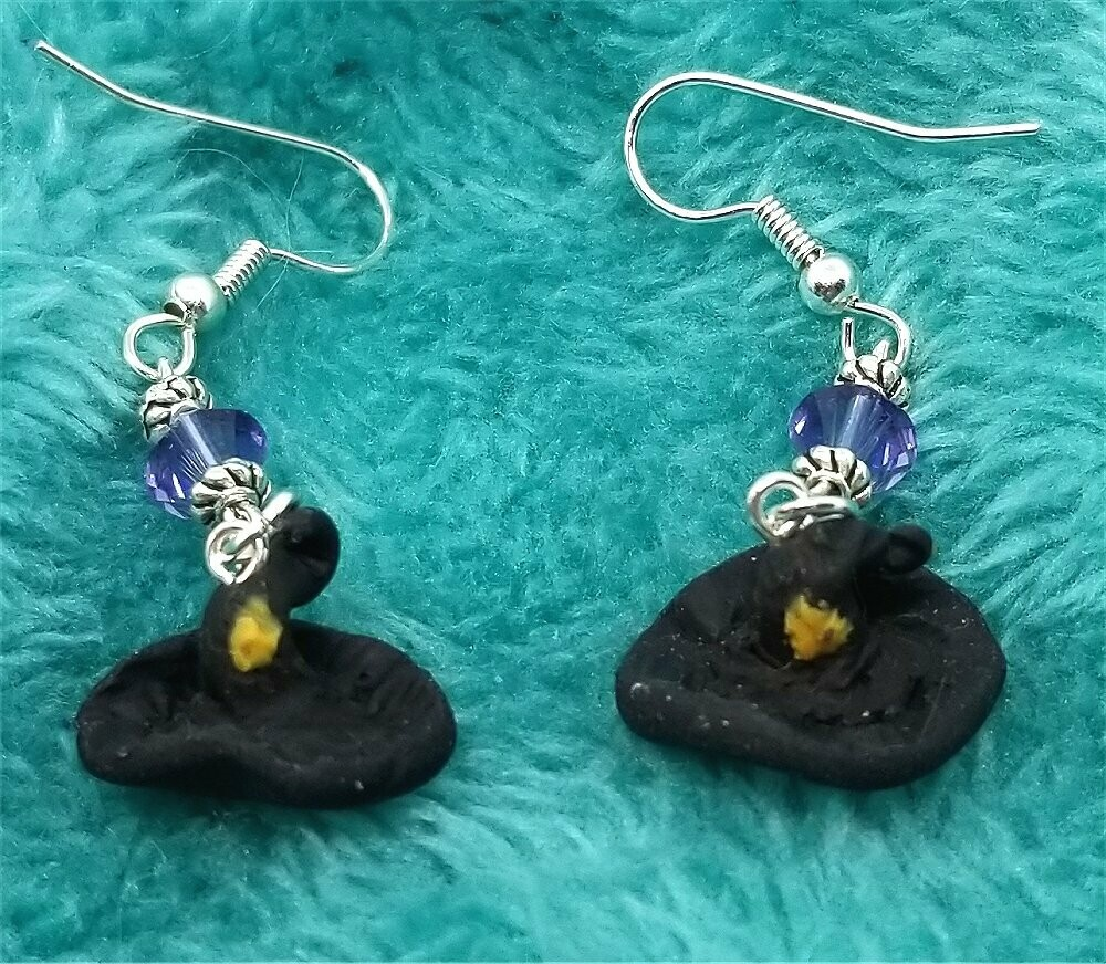 Small Witch's Hat Polymer Clay Earrings with Purple AB Swarovski Crystals