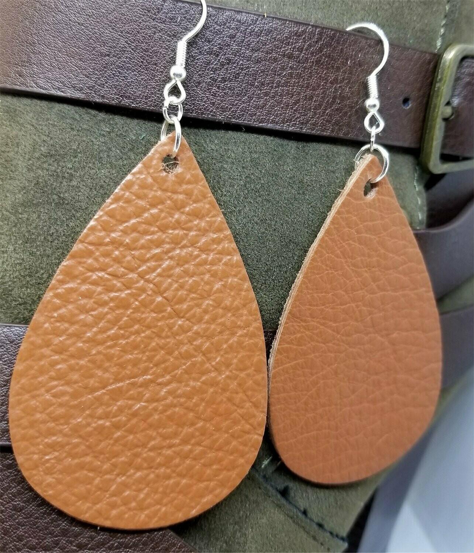 Large Brown Teardrop Shaped Real Leather Earrings