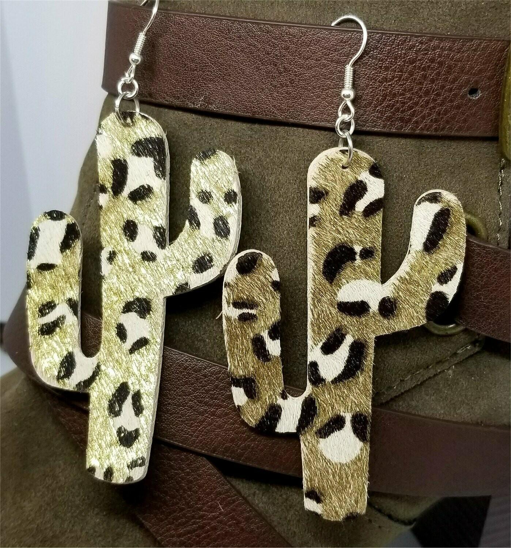 Large Cactus Shaped Metallic Leopard Print Cork Earrings