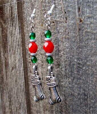 Red and Green Glass Bead Earrings with Christmas Stocking Charm Dangles