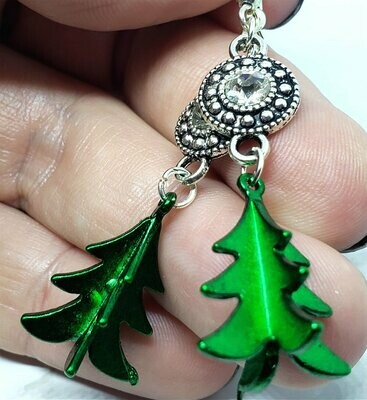 Green Metal Christmas Tree Charm Earrings with Clear Crystal Charms