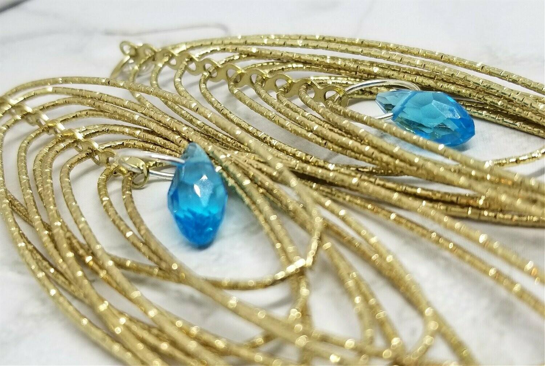 Gold Hoops Chandelier Earrings with Aqua Swarovski Crystals